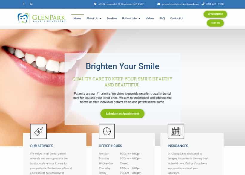 Glen Park Family Dentistry Website Screenshot