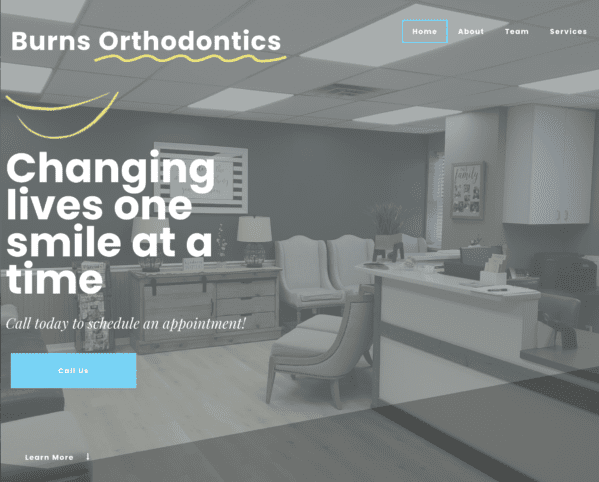 Burns orthodontics website screenshot