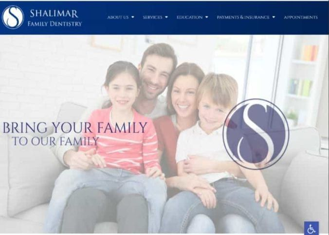 Shalimar Family Dentistry Website Screenshot