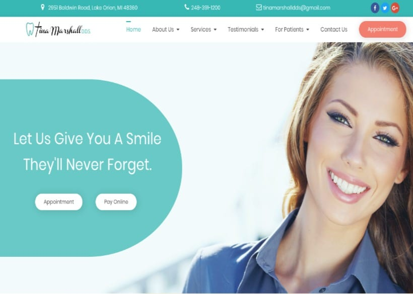 Tina Marshall DDS Website Screenshot