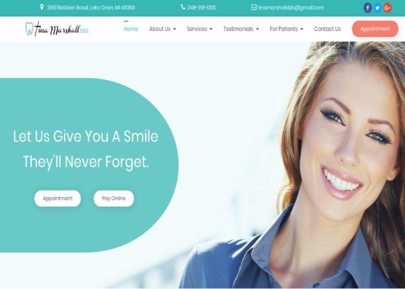 Tina Marshall DDS Website Screenshot
