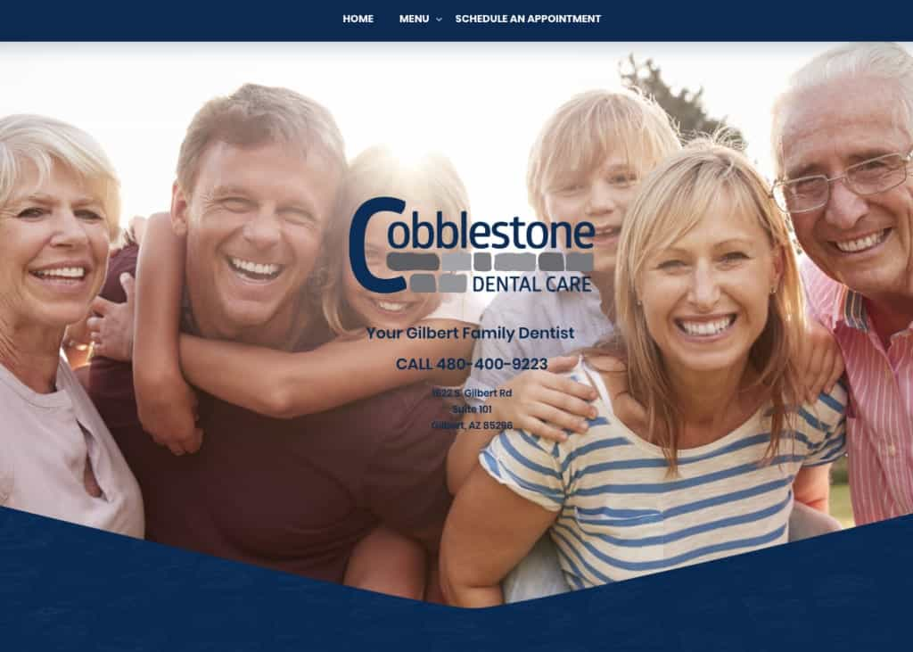 Cobblestone Dental Care Website Screenshot