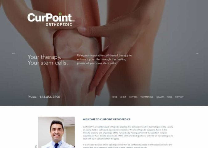 Curpoint Orthopedics Website Screenshot