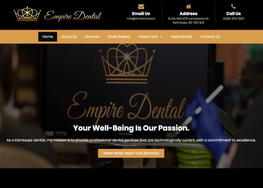Empire Dental Website Screenshot