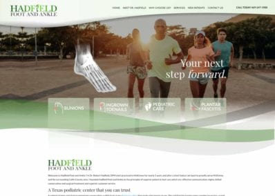 Hadfield Foot and Ankle Website Screenshot