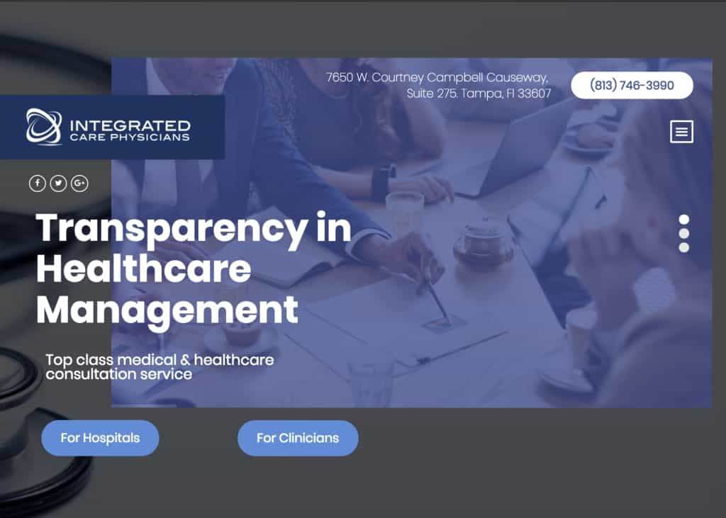 Integrated Care Physicians Website Screenshot