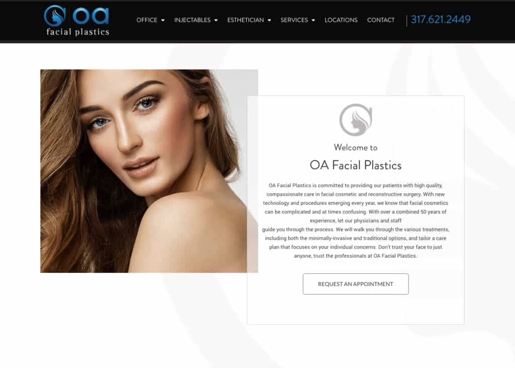 OA Facial Plastics Website Screenshot