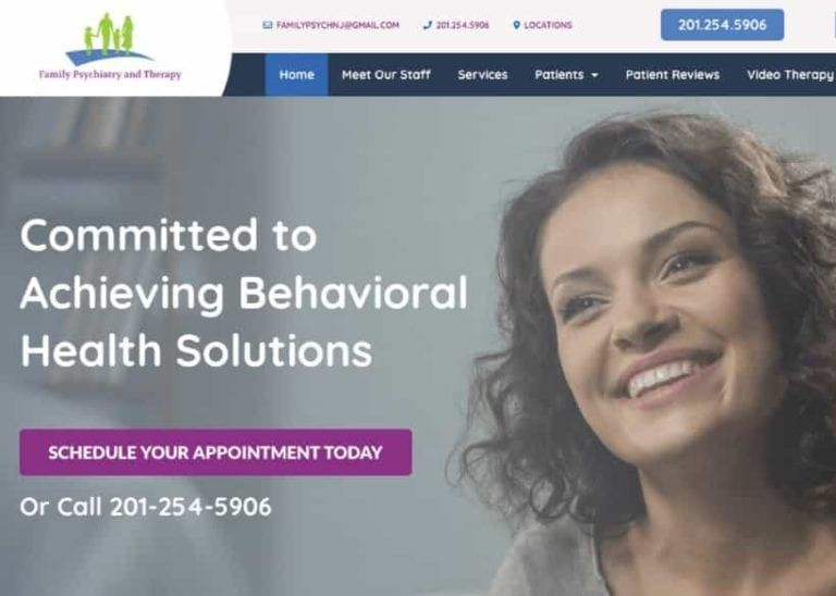 Family Psychiatry & Therapy Website Screenshot