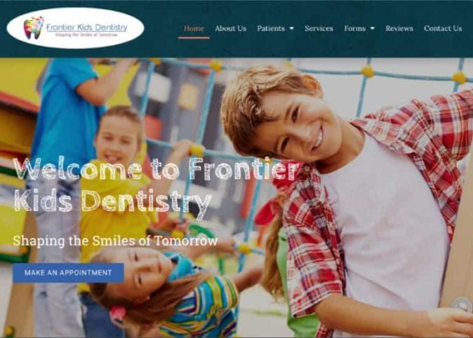 Frontier Kids Dentistry Website Screenshot