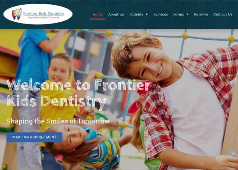 Frontier Kids Dentistry Website Screenshot