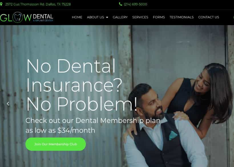 Glow Dental And Implant Center Website Screenshot