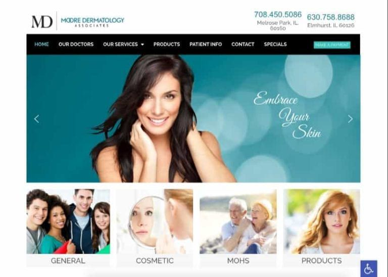 Moore Dermatology Associates Website Screenshot