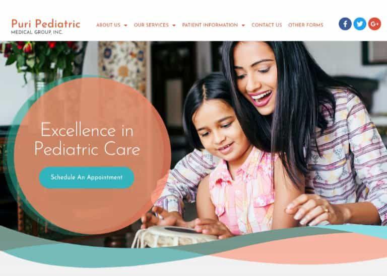 Puri Pediatric Medical Group Website Screenshot