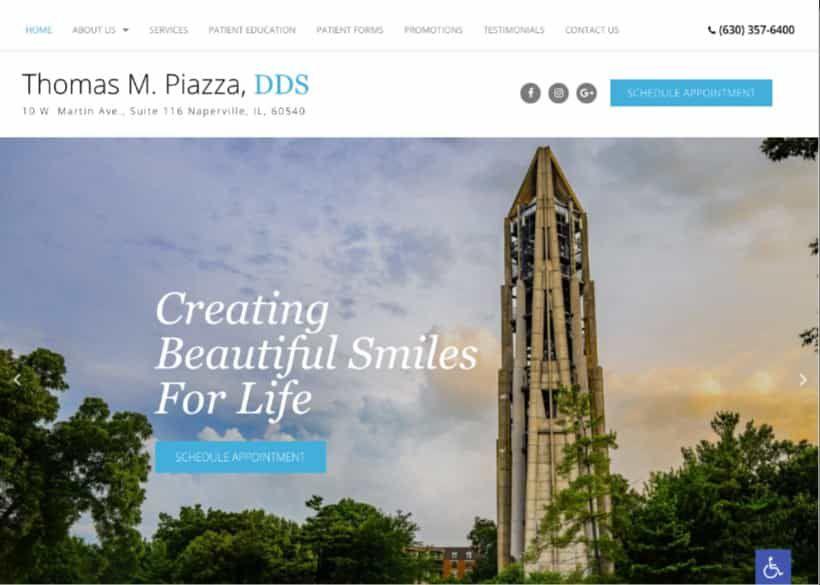 Thomas M. Piazza Dds Website Screenshot