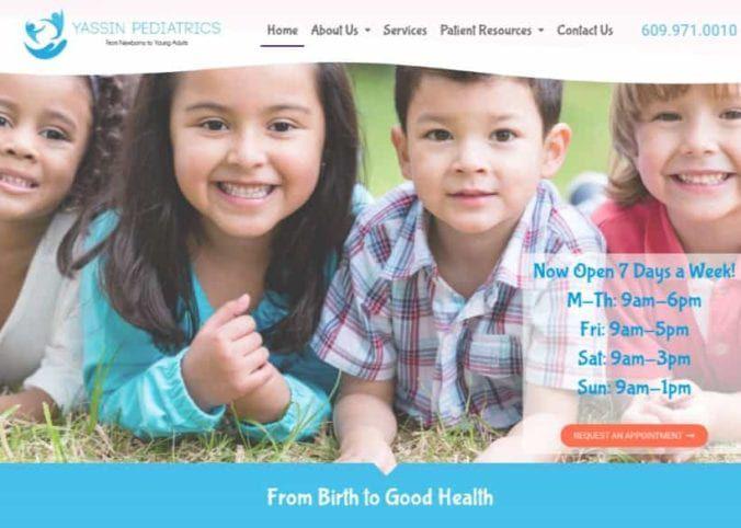 Yassin Pediatrics Website Screenshot