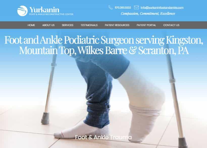 Yurkanin Foot And Ankle Reconstructive Center Website Screenshot