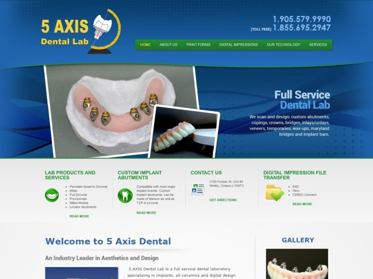 5 Axis Dental Website Screenshot from url 5axisdental.com