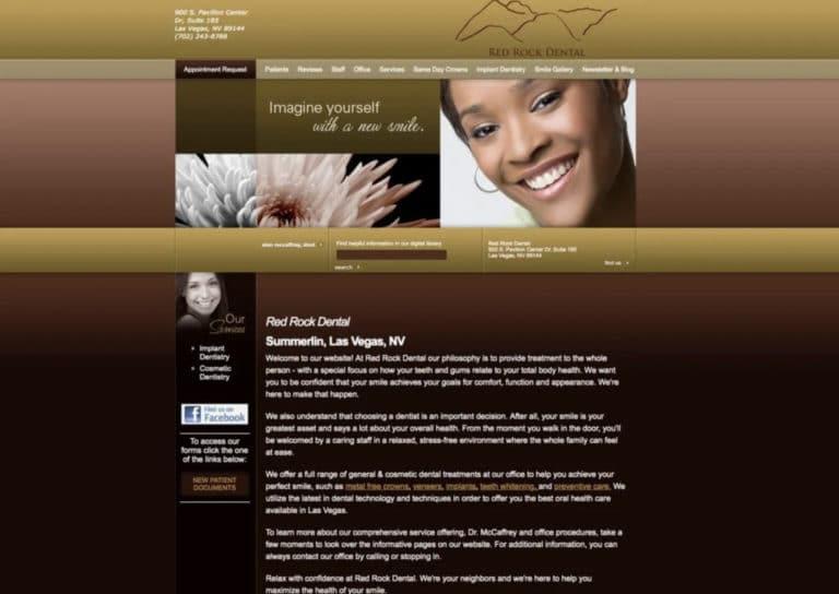 Red Rock Dental Website Before Update