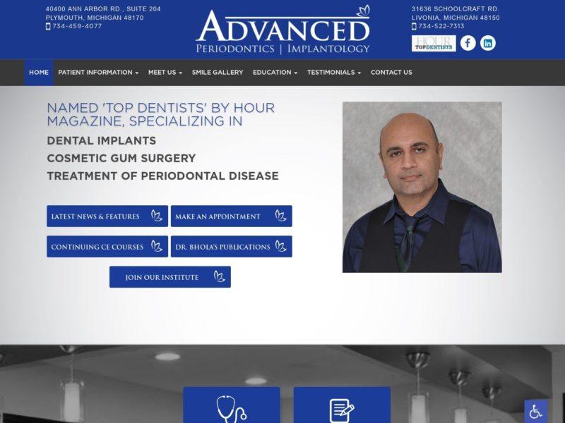 Advanced Periodontics Website Screenshot from url advancedperiodontics.com