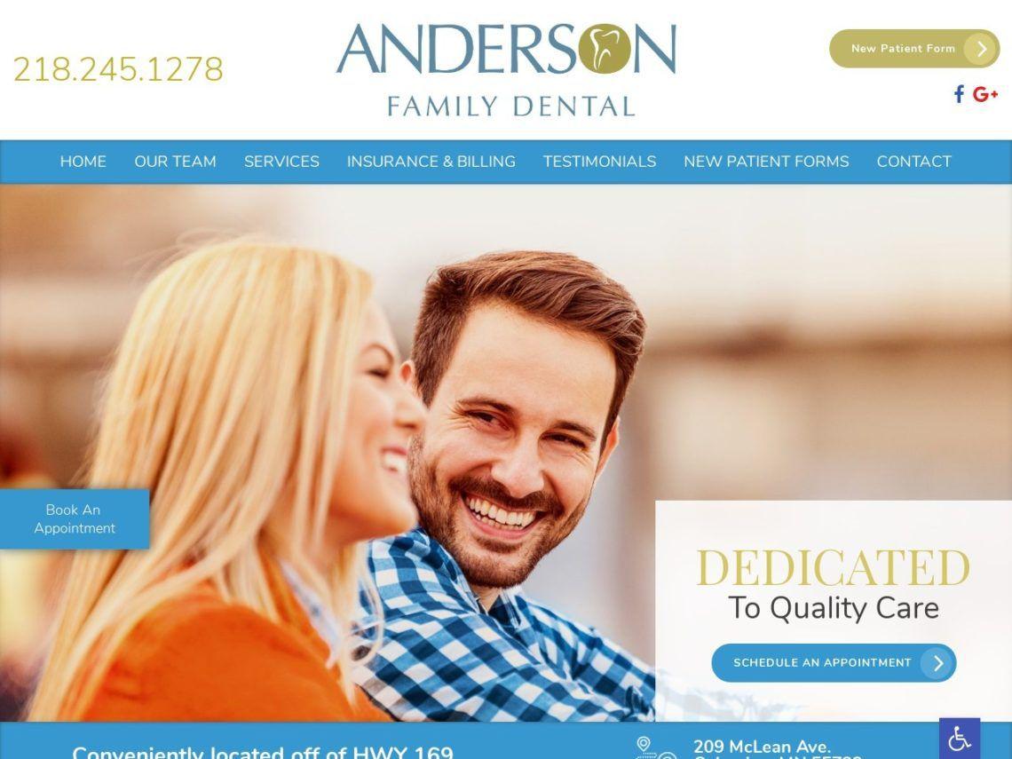 Anderson Family Dental Website Screenshot from url andersonfamilydentalmn.com