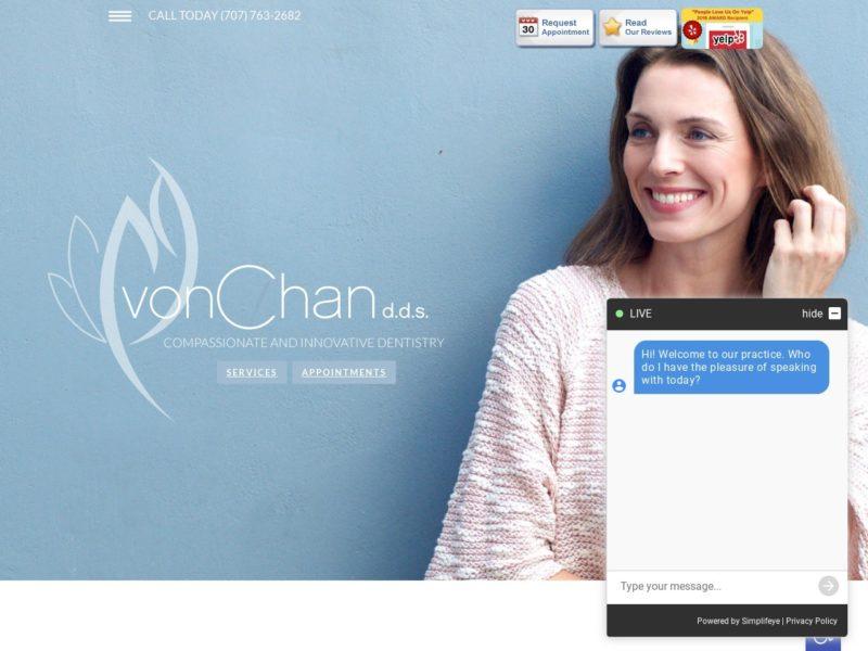 Petaluma Dentist Von Chan Website Screenshot from url apetalumadentist.com