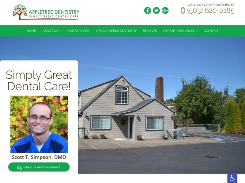Appletree Dentistry Website Screenshot from url appletreedentistry.net