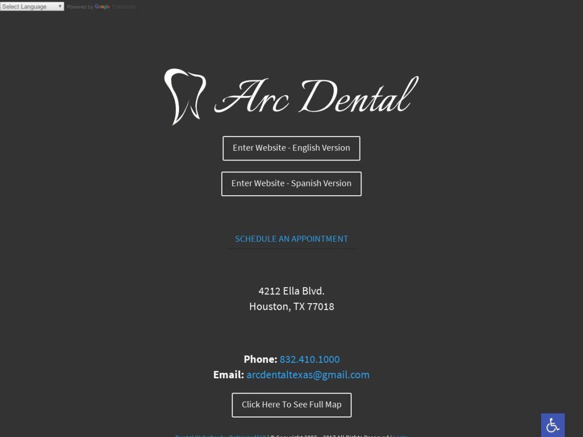 Arc Dental Website Screenshot from url arcdentalhouston.com