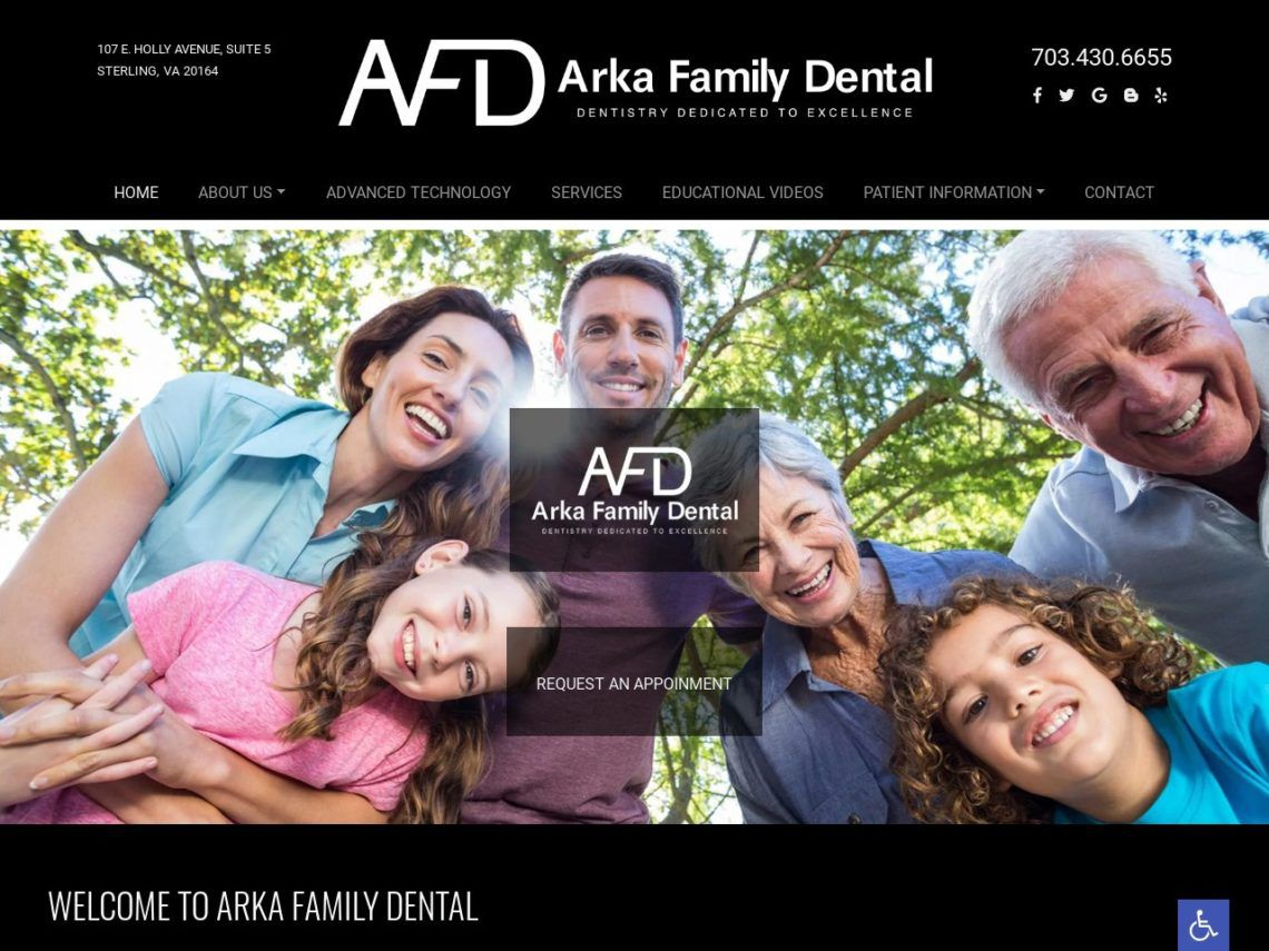 Arka Family Dentist Website Screenshot from url arkafamilydentist.com