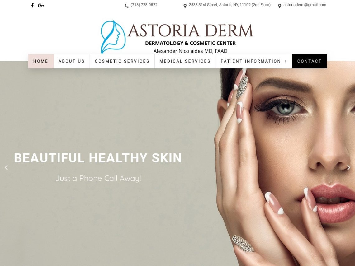 Astoria Derm Website Screenshot from url astoriaderm.com