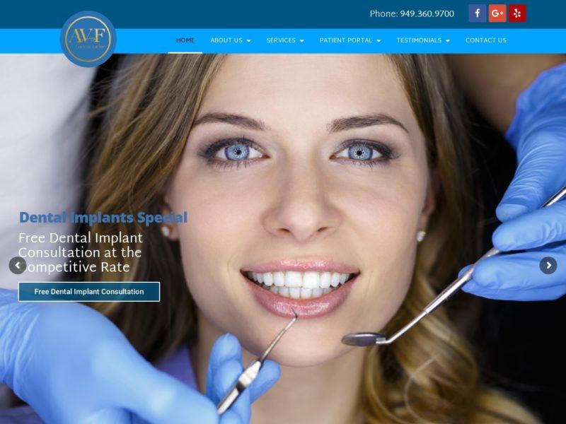 Aliso Viejo Family Dental Website Screenshot from url avfdentalgroup.com
