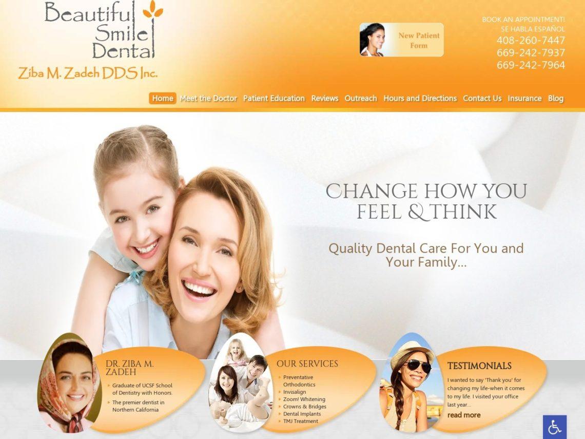 Beautiful Smile Dental Website Screenshot from url beautifulsmiledental.com