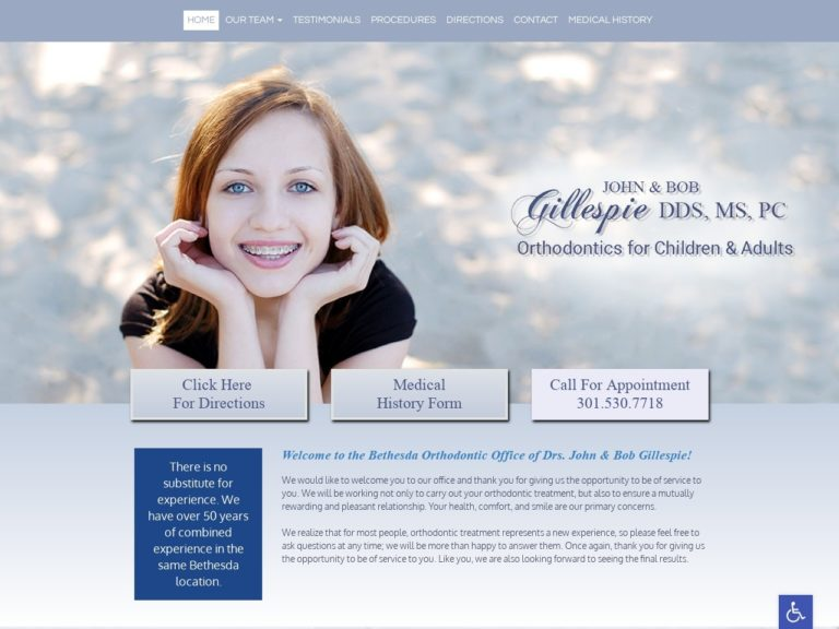 Bethesda Orthodontics Website Screenshot from url bethesdaorthodontists.com
