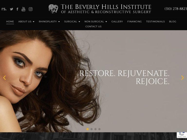 Beverly Hills Institue of Aesthetic Website Screenshot from url bevhills.com