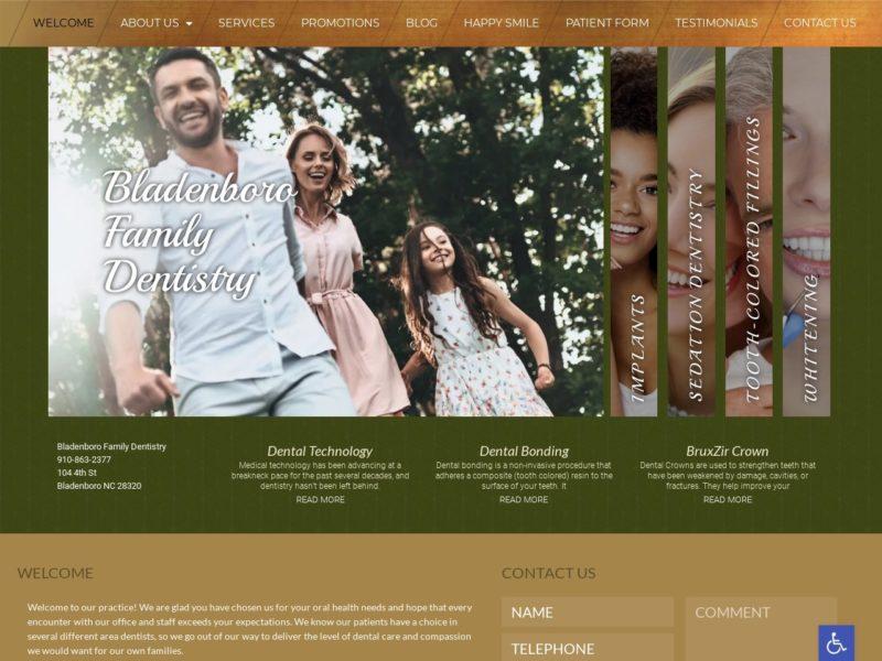 Bladenboro Family Dentistry Website Screenshot from url bladenborofamilydentistry.com