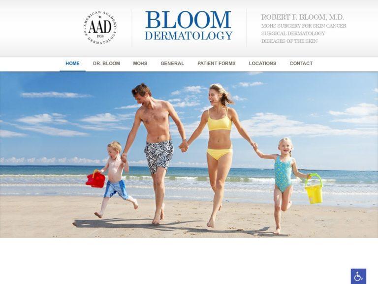 Bloom Dermatology Website Screenshot from url bloomdermatology.com