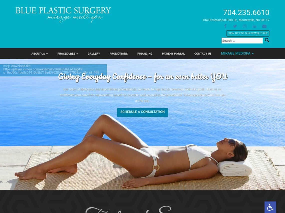 Blue Plastic Surgery Website Screenshot from url blueplasticsurgery.com