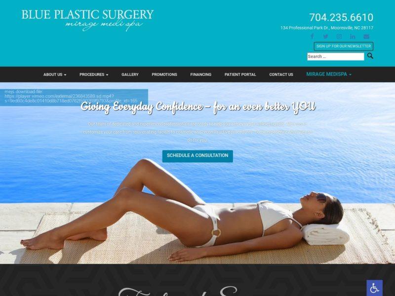 Blue Plastic Surgery Website Screenshot from url blueplasticsurgery.com