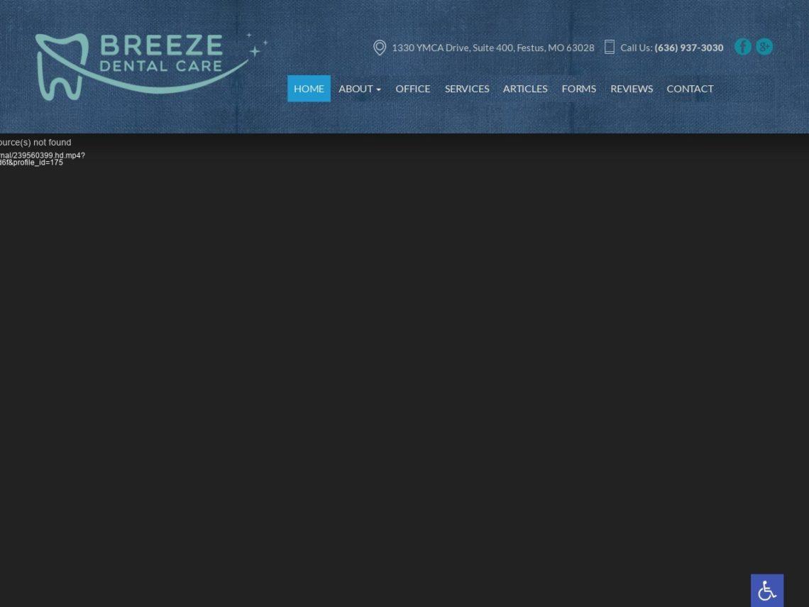 Breeze Dental Care Website Screenshot from url breezedentalcare.com