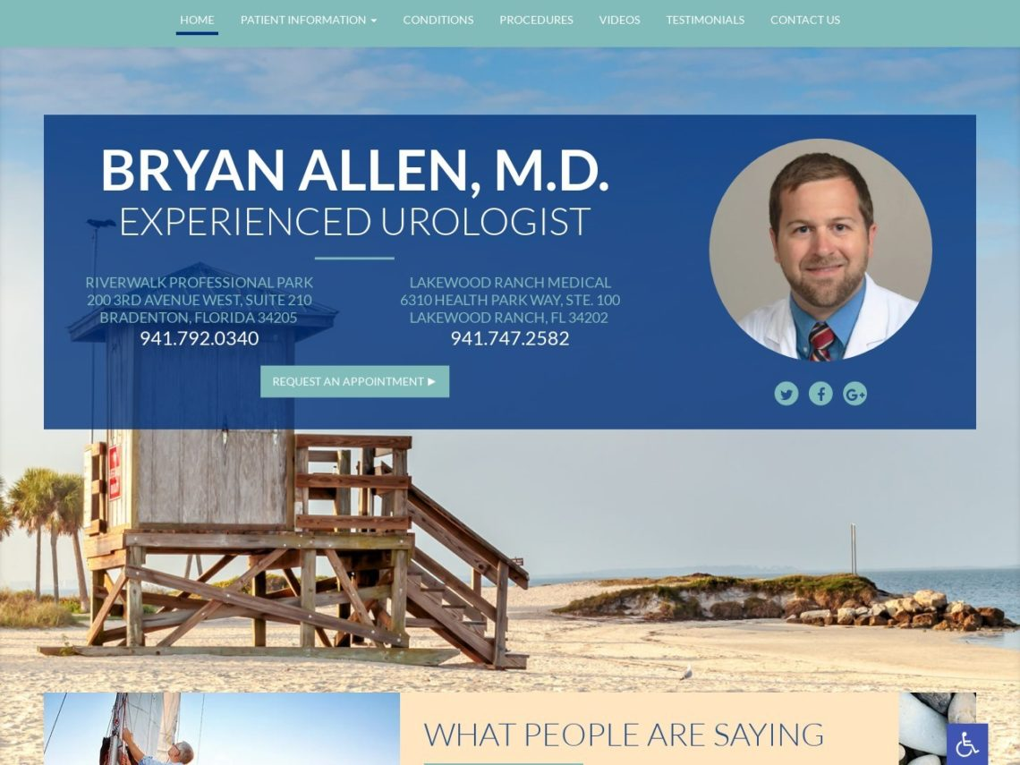 Bradenton Urology Website Screenshot from url bryanallenmd.com