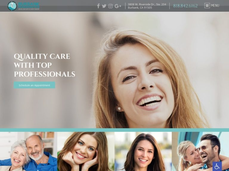 Burbank Dentist Website Screenshot from url burbankperio.com
