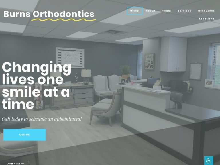 Burns Orthodontics Website Screenshot from url burnsorthodontics.com