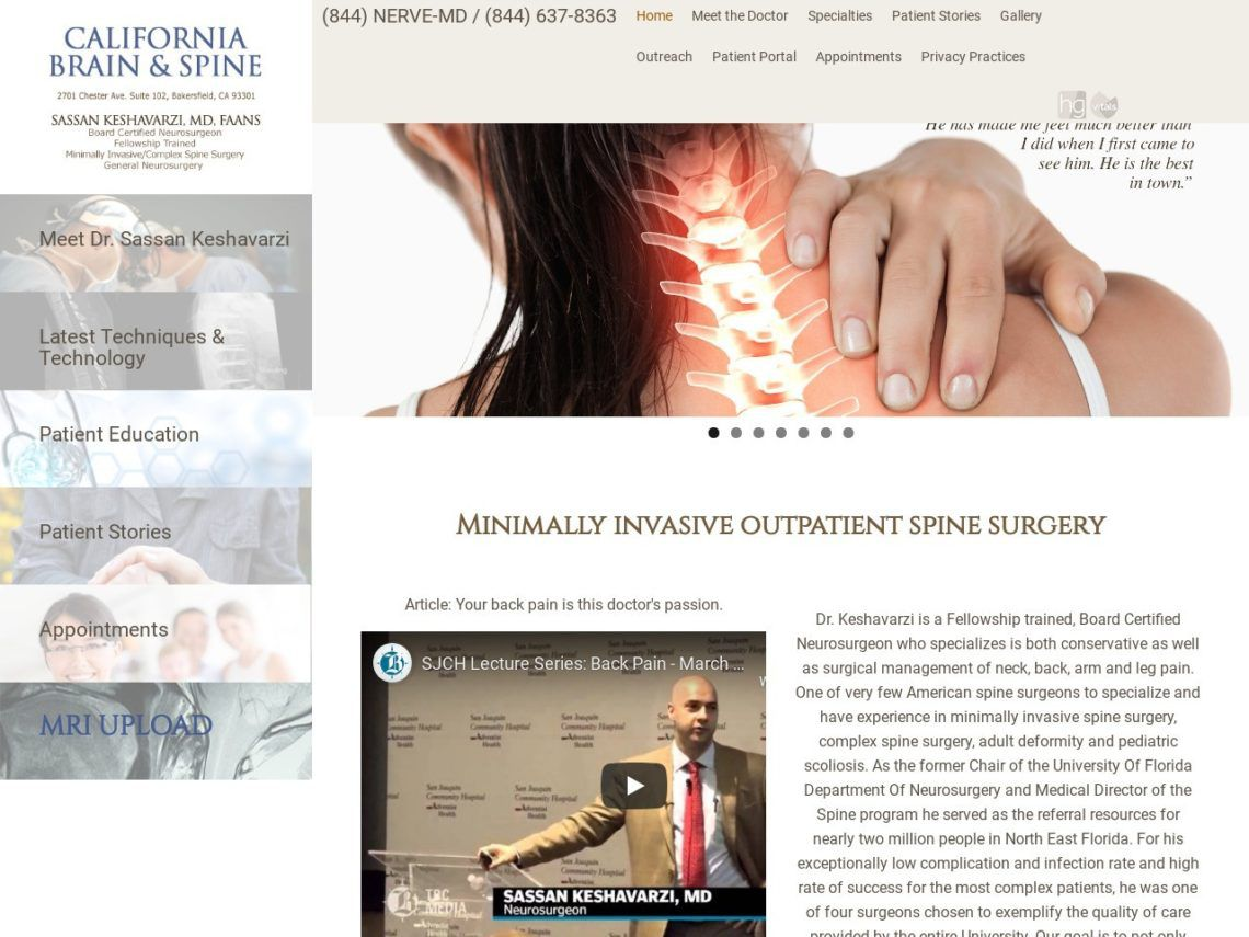 California Brain and Spine Website Screenshot from url cabrainandspine.com