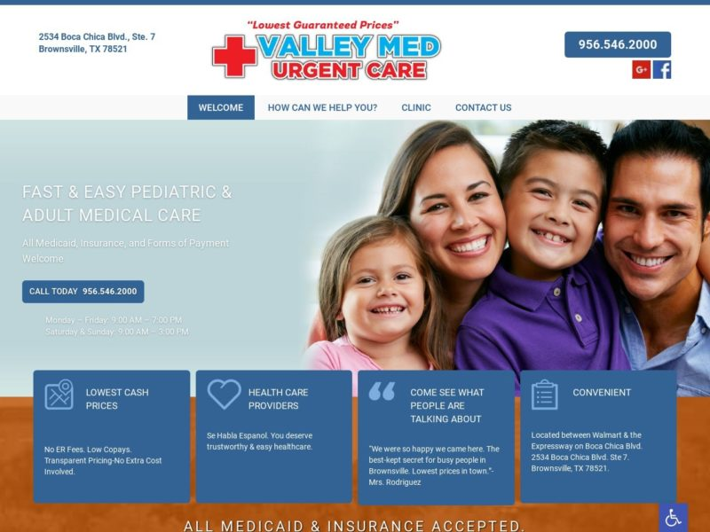 Valley Med Urgent Care Website Screenshot from url carevm.com