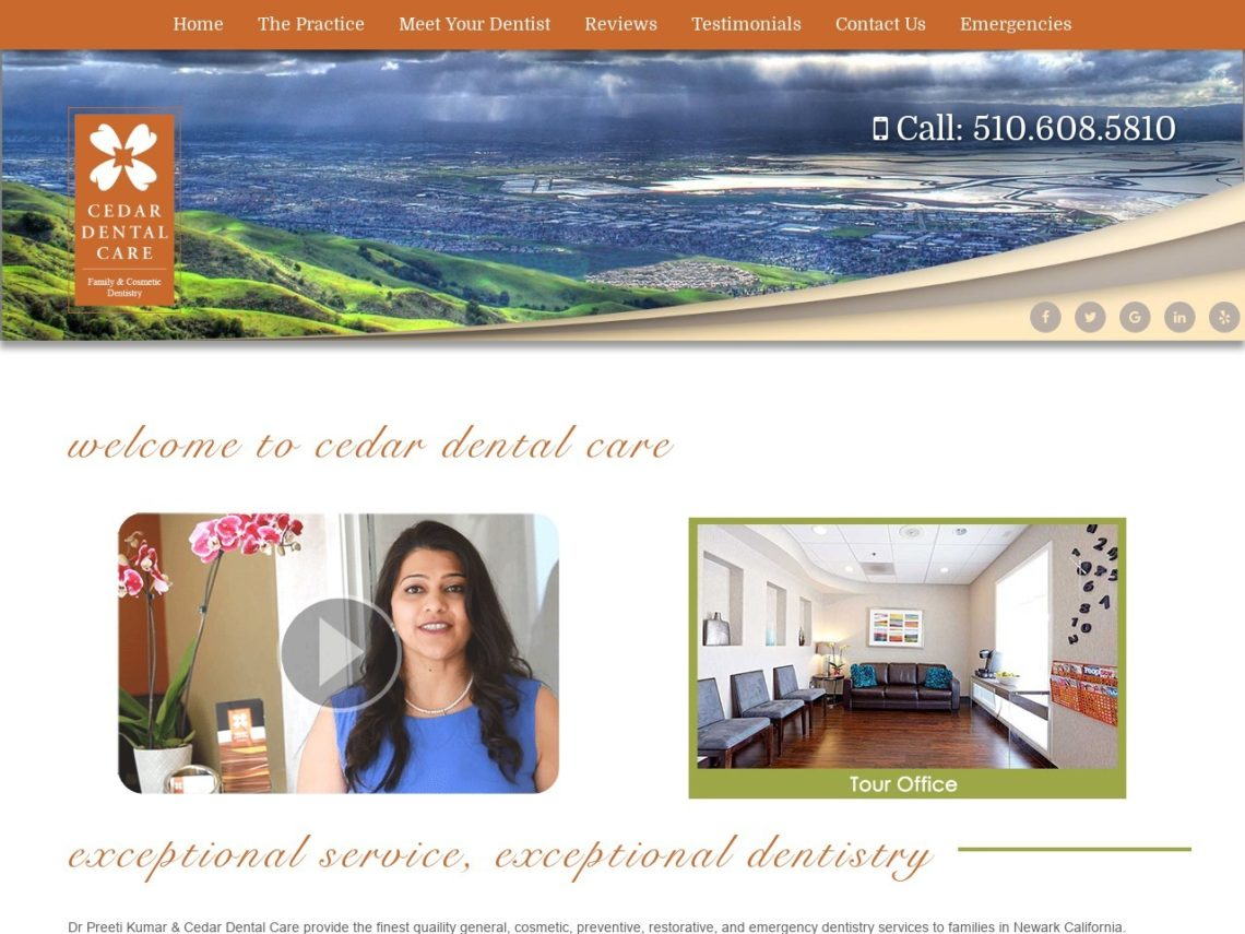 Cedar Dental Care Website Screenshot from url cedardentalcare.com