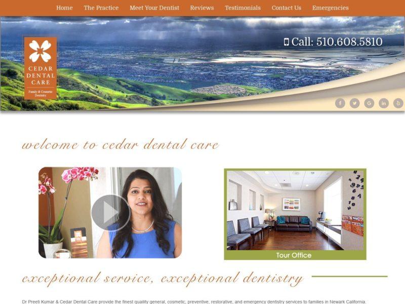 Cedar Dental Care Website Screenshot from url cedardentalcare.com