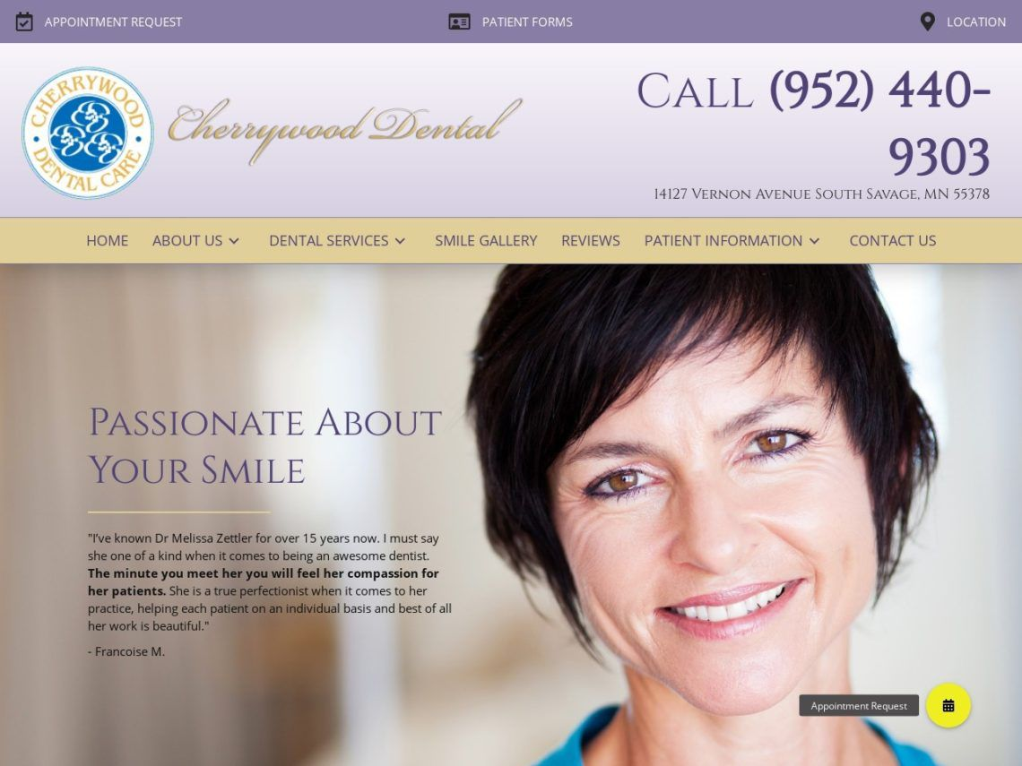 Cherrywood Dental Website Screenshot from url cherrywooddental.com