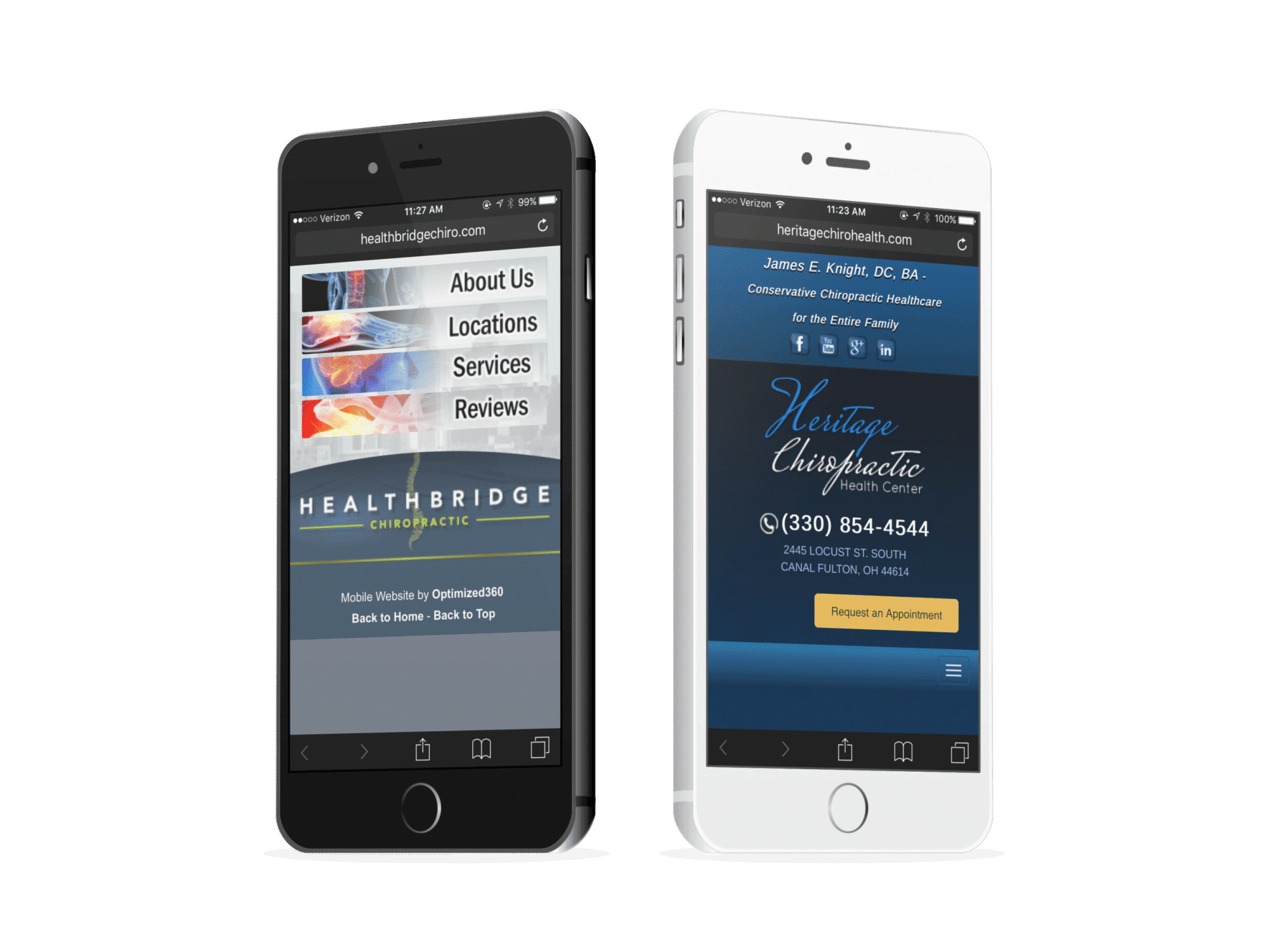 Chiropractic Mobile Websites On Two Phones