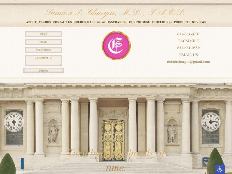 Dr. Churgin Plastic Surgery Website Screenshot from url churginplasticsurgery.com