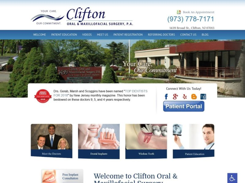 Clifton Oral & Maxillofacial Surgery Website Screenshot from url cliftonoms.com