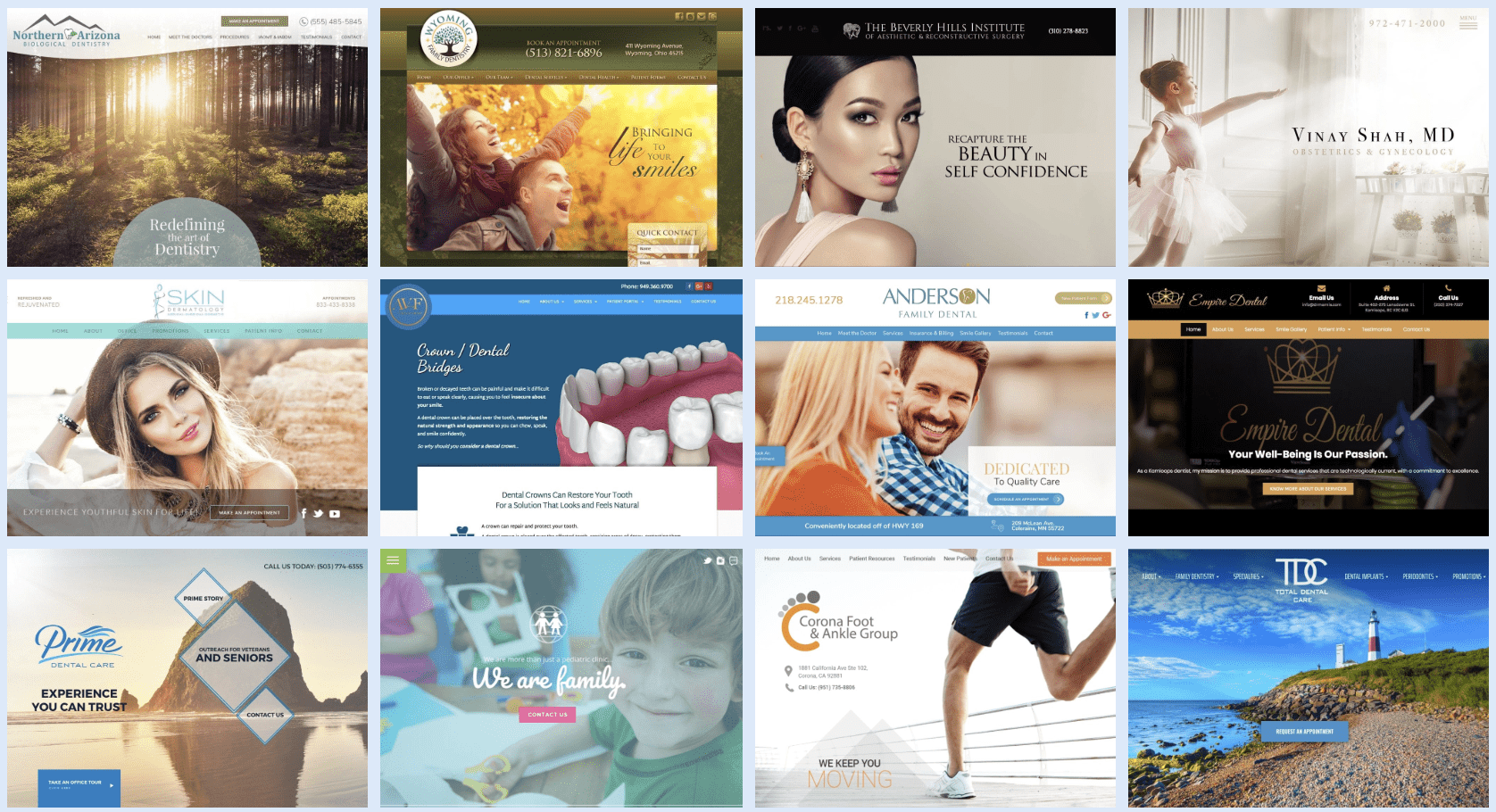 Collage Of Multiple Medical And Dental Websites